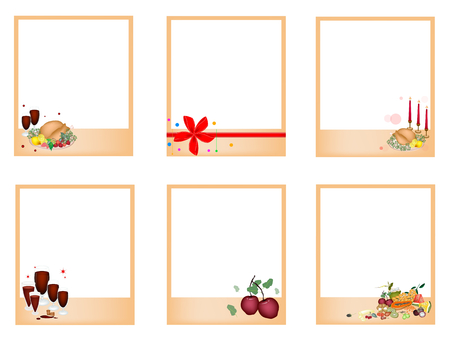 traditional christmas dinner: Collection of Six Blank Instant Photo Prints or Instant Camera with Traditional Christmas Dinner of Roast Turkey, Fruits and Red Wine for Christmas Celebration.
