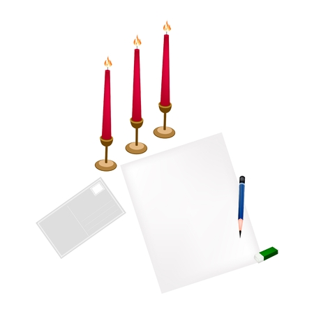 A Sharpened Pencil, Eraser and  Red Candles with Blank Paper, Postcard and Envelope. Vector
