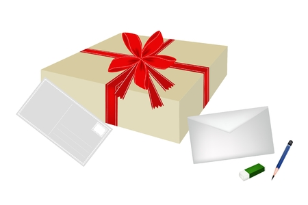 Illustration of Beautiful Gift Box with Postcard and Letter, A Perfect Gift or Present for Someone Special. Vector