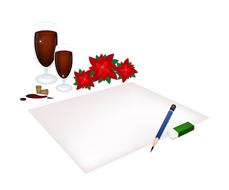 traditional christmas dinner: A Traditional Christmas Dinner of Red Wine with Red Poinsettia Plants on Blank Paper for Christmas Celebration.