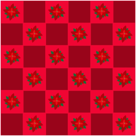 An Illustration Seamless Patterns of Lovely Christmas Poinsettia Flower in Red and Maroon Chess Board, Sign for Christmas Celebration. Vector