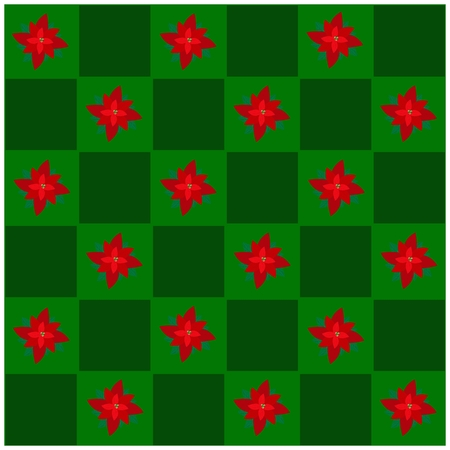 An Illustration Seamless Patterns of Lovely Christmas Poinsettia Flower in Green and Dark Green Chess Board, Sign for Christmas Celebration. Vector
