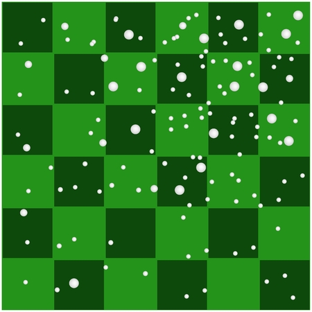 Illustration White Snow Falling on Seamless Patterns of Lovely Green and Dark Green Chess Board. Vector