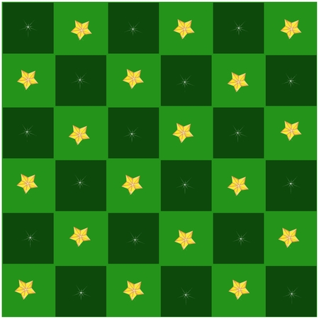 An Illustration Seamless Patterns of Golden Stars in Green and Dark Green Chess Board, Sign for Christmas Celebration. Vector
