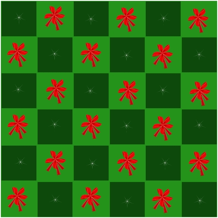 An Illustration Seamless Patterns of Lovely Red Bow in Green and Dark Green Chess Board, A Perfect Gift or Present for Someone Special.