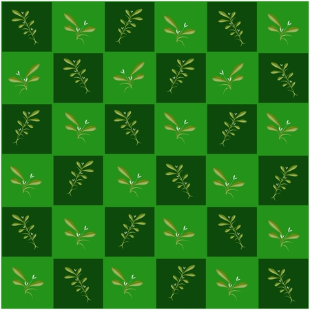 An Illustration Seamless Patterns of Mistletoe Bunch or Viscum Album in Green and Dark Green Chess Board, Sign for Christmas Celebration. Vector