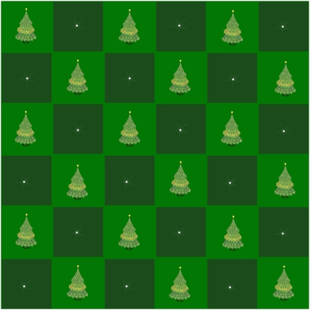 An Illustration Seamless Patterns of Christmas Tree of Maple Leaves in Green and Dark Green Chess Board, Sign for Christmas Celebration. illustration