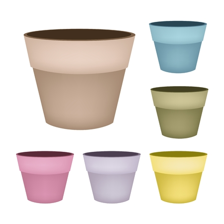 Illustration Six Colors of Empty Ceramic Flower Pots or Clay Plant Pots Isolated on A White Background.