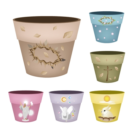 Illustration Various Color of Decorative Ceramic Flower Pots or Terracotta Pots with Religion Symbols Design Isolated on A White Background. Vettoriali