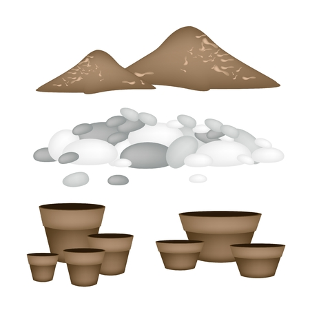Illustration of Ceramic Flower Pots or Clay Plant Pots with Pebbles and Potting Soil for Growing Plants, Herbs and Vegetables