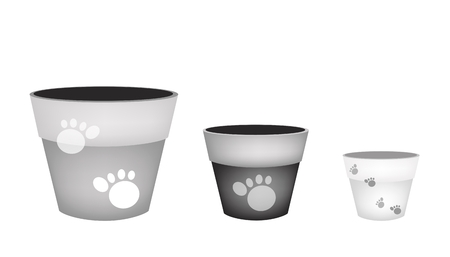 Illustration Various Color of Empty Ceramic Flower Pots or Clay Plant Pots Isolated on A White Background.