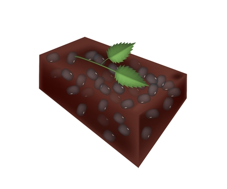 japanese dessert: Japanese Traditional Dessert, Mizuyoukan or Sweet Jelly Made of Red Bean Paste, Agar and Sugar Isolated on White Background.