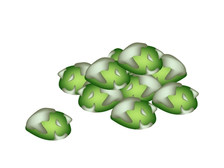 crispy: Japanese Traditional Snack, Illustration A Pile of Coated Green Peas in Wasabi Flavor Isolated on White Background.