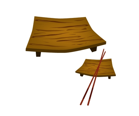 sushi plate: Traditional Japan, Illustration of Sushi Geta Plate or Wooden Sushi Plate with Chopstick for Serving Japanese Food. Illustration