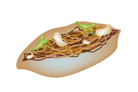 fried noodle: Japanese Food, Yakisoba Pan or Fried Noodle with Yakisoba Sauce in Sandwich Bun Isolated on White Background.