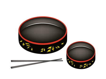 Traditional Japan, The Black with Red Trim Color of Sushioke or Round Sushi Plate for Serving Sushi.