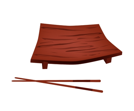 sushi plate: Traditional Japan, Illustration of A Sushi Geta Plate or Wooden Sushi Plate with Chopstick for Serving Japanese Food. Illustration