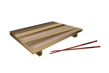 sushi plate: Traditional Japan, Illustration of Sushi Geta Tray or Wooden Sushi Plate with Chopstick for Serving Japanese Food.