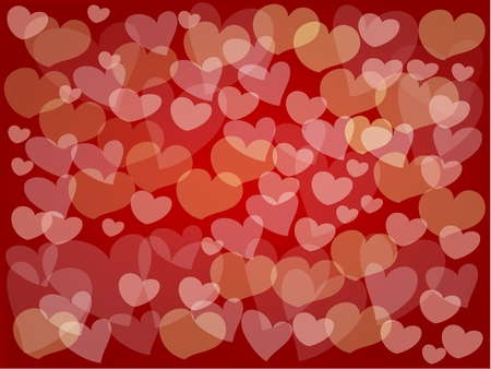 Love Signals, Elegant Template of Many Blurry Heart in A Red Background for Valentines day.