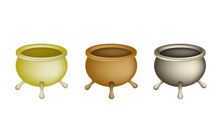 incense: Chinese Cultural, Tree Brass Joss Stick Pots or Chinese Incense Burner Isolated on White Background.