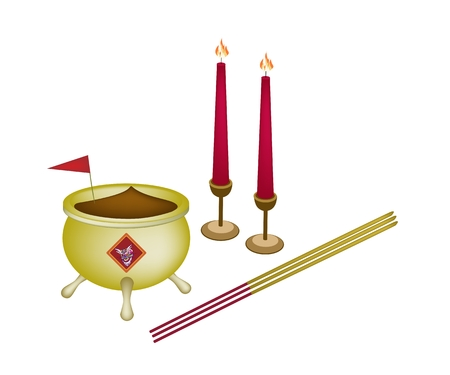 incense: Chinese Cultural, Joss Stick Pots or Chinese Incense Burner with Joss Sticks, Red Flag and Burning Candles.