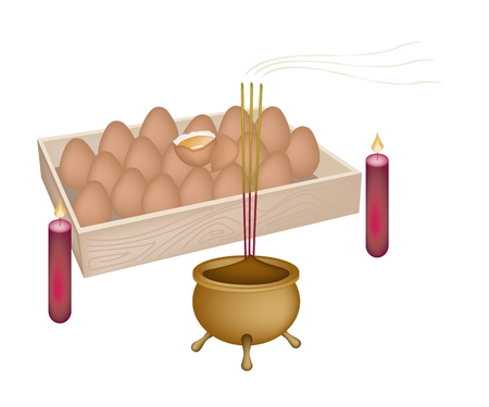 boiled eggs: Boiled Eggs on A Platter with Joss Sticks and Burning Candles, Signal for Chinese New Year Celebration Illustration