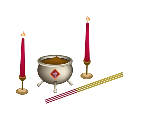 incense: Chinese Cultural, Joss Stick Pots or Chinese Incense Burner with Joss Sticks and Burning Candles. Illustration