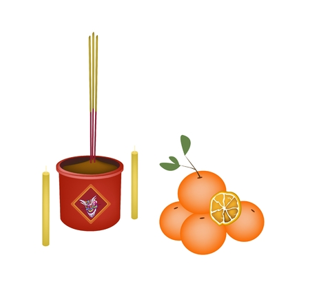 incense: Ripe Orange with Joss Sticks and Burning Candles, Signal for Chinese New Year Celebration.