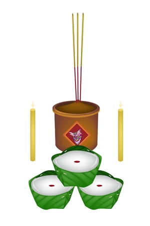 sweetmeat: Chinese Pudding or Chinese Sweetmeat Made with Joss Sticks and Burning Candles for Pay Respect to God in Chinese New Year. Illustration