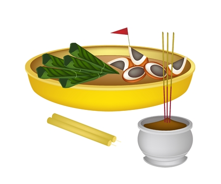 Asian Traditional, Illustration of Ripe Areca Nut Chewed with Betel Leaves with Joss Sticks and Candles. Vector