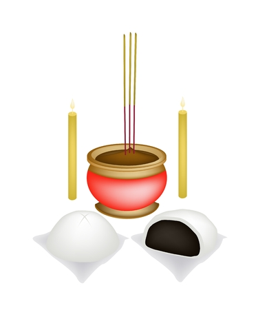 Chinese Cultural, Steamed Bun Stuffed With Sweet Bean Jam with Joss Sticks and Burning Candles for Pay Respect to God in Chinese New Year.