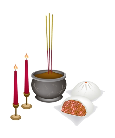 Chinese Cultural, Steamed Bun Stuffed with Joss Sticks and Burning Candles for Pay Respect to God in Chinese New Year.