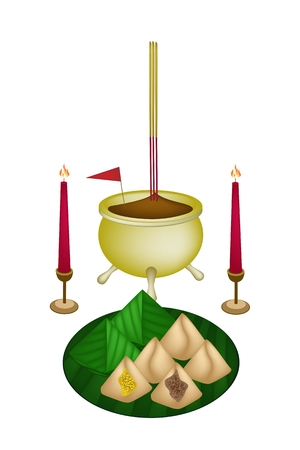 Stuffed Dough Pyramid Dessert with Joss Sticks and Burning Candles for Pay Respect to God in Chinese New Year. Vector