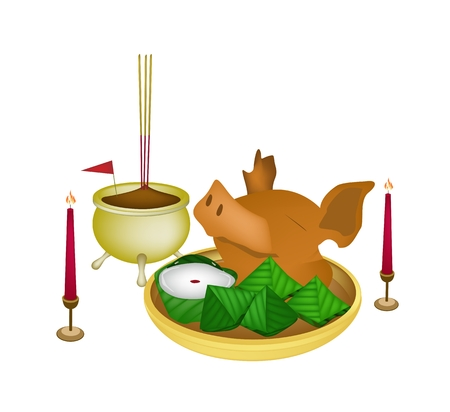 Stuffed Dough Pyramid Dessert and Chinese Pudding or Chinese Sweetmeat with Boiled Pork for Pay Respect to God in Chinese New Year.