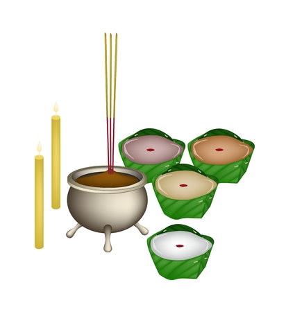 sweetmeat: Chinese Pudding or Chinese Sweetmeat Made with Joss Sticks and Candles for Pay Respect to God in Chinese New Year.