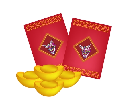 Traditional Chinese, Illustration of Chinese Ang Pao or Red Envelope and Gold Ingots for Chinese New Year Celebration.