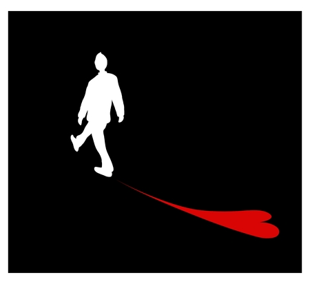 A Symbol of Love, Illustration of Romantic Young Man Walking with Shadow of A Red Heart on Black Background.