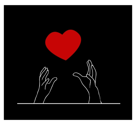 raise the thumb: A Symbol of Love, Illustration of Romantic Red Heart Falling From The Sky in Person Hands on Back Background. Illustration