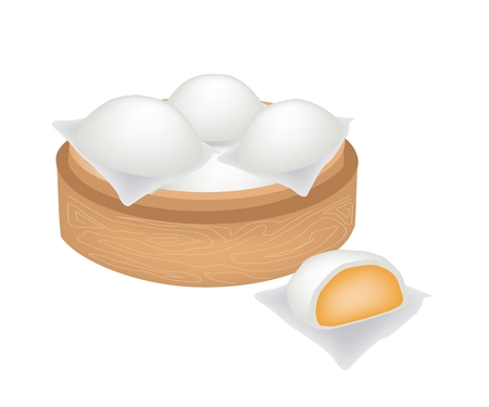 bao: Traditional Japan, Illustration of Chinese Steamed Bun Stuffed With Custard Cream in Bamboo Basket or Chinese Bamboo Steamer. Illustration