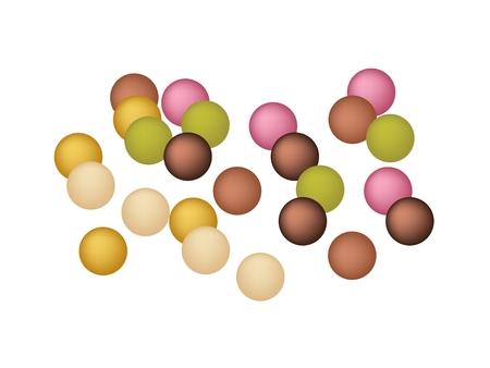 japanese dessert: Japanese Traditional Dessert, Anko Dama or Japanese Vegan Cake Made with Sweet Bean Paste Ball Isolated on White Background. Illustration