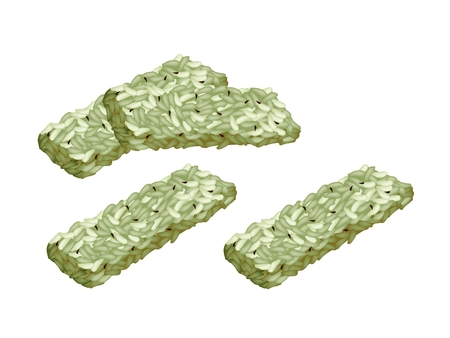 crispy: Japanese Traditional Snack, Green Tea Kaminari-okoshi Made From Crispy Rice Mixed with Sugar and Peanuts Pressed Down into A Flat Shape and Cut into Squares.