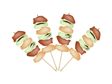 chiken: Japanese Cuisine, Illustration of Yakitori Negima or Chicken Grilled with Scallions on Skewer Isolated on White Background.