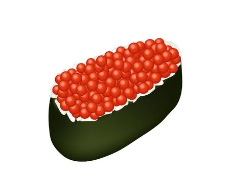maki: Japanese Cuisine, Illustration of Delicious Salmon Eggs Sushi or Ikura Maki Sushi for Sushi and Sashimi Isolated on White Background. Illustration