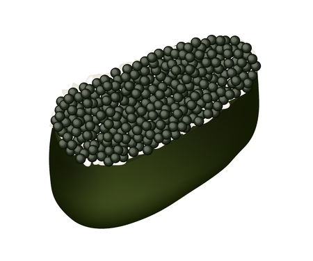 caviar: Cuisine japonaise, Illustration Delicious Noir Ebiko Sushi, Sushi Tobiko ou Flying Fish Caviar Sushi isol� sur fond blanc. Illustration