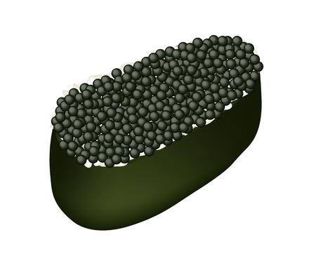 egg roll: Japanese Cuisine, Illustration of Delicious Black Ebiko Sushi, Tobiko Sushi or Flying Fish Caviar Sushi Isolated on White Background.