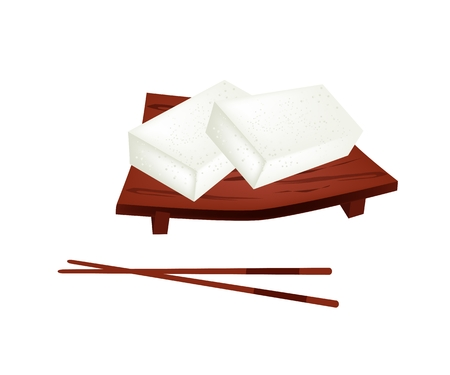 sushi plate: Japanese Traditional Confection, Karukan or Saomono Gashi Made From Rice Flour and Sugar Filled with Japanese Yam and Red Bean Paste on Wooden Sushi Plate.