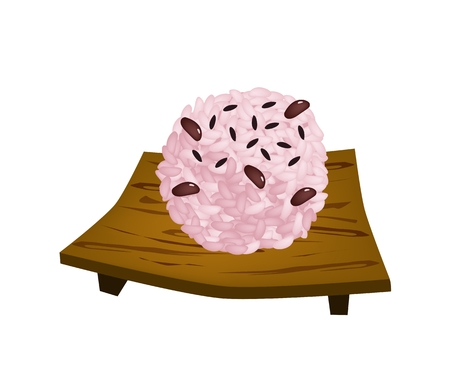 beans and rice: Traditional Japanese Cuisine, Sekihan or Sticky Rice Steamed with Red Beans on Wooden Sushi Plate, Served on Special Occasions. Illustration