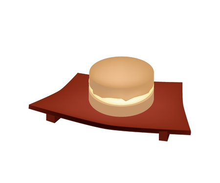 sushi plate: Japanese Traditional Dessert, Imagawayaki Made of Azuki Bean Jam Filling Sandwiched Between Two Crisp Wafers on Wooden Sushi Plate. Illustration
