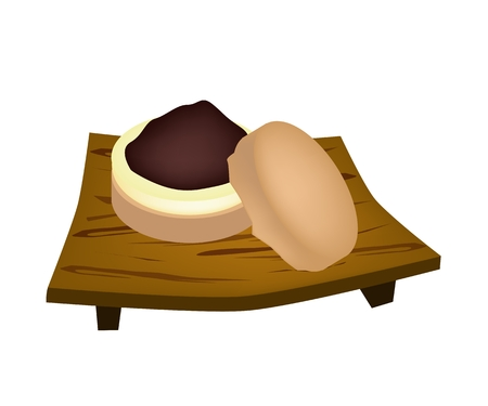 azuki bean: Japanese Traditional Dessert, Imagawayaki Made of Azuki Bean Jam Filling Sandwiched Between Two Crisp Wafers on Wooden Plate.