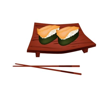 sushi plate: Japanese Cuisine, Illustration of Fresh Sea Urchin Sushi or Sea Hedgehog Sushi on Wooden Sushi Plate.